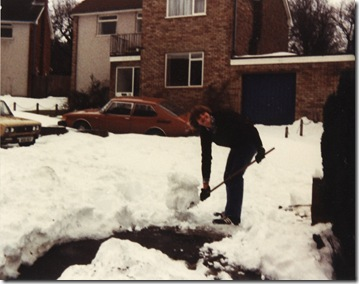 Rob clearing drive snow 1982